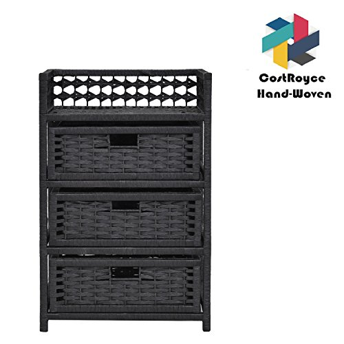 CostRoyce Hand-Woven Paper Rope Storage Organizer With 3-Drawer Chest For Bedroom, Office & Living Room (Black) by CostRoyce
