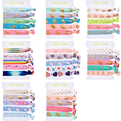 (BBTO 40 Pieces Unicorn Colorful Hair Ties Bracelet Party Favors Birthday Gifts Supplies, Elastic Ponytail Holders Decorations for Girl and Children (Style 4))