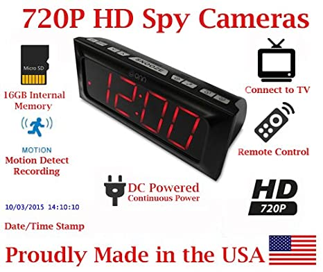 SecureGuard HD 720p Onn Large Display Alarm Clock Radio Spy Camera Covert Hidden Nanny Camera Spy Gadget