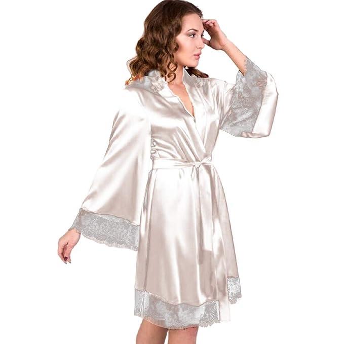 Lurcardo Camisón Sexy Mujer Pijamas Abrigo cinturón Vestido ...