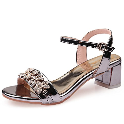 Genepeg Womens Shoes Rhinestone Ladies Ankle Strap Patent Leather High Heels Party Shoes