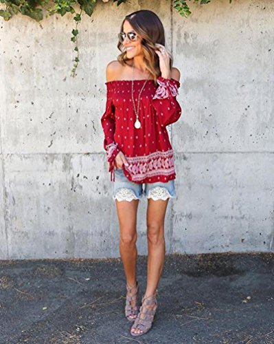 Bluestercool Las mujeres Floral imprimir T Tops camisa blusa Rojo