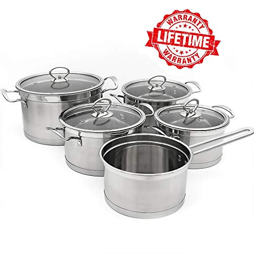 (Indoor Ultima Tri-ply Stainless Steel Pot and Pans Set, Professional 9-Piece Cookware Set with Glass Lid )
