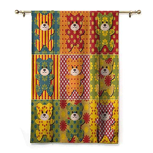 - Children's Room Roman Curtain Cabin Decor Colorful Kids Room Pattern with Patchwork Style Teddy Bears Cute Funny Childish Bedroom Balcony Living Room W27 xL64 Multicolor