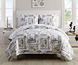 VCNY Home Aviary 3 Piece Cotton Quilt Set in Reversible Nautical Print 2 Shams, Full/Queen, Taupe