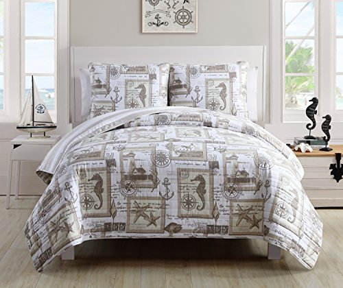 VCNY Home Aviary 3 Piece Cotton Quilt Set in Reversible Nautical Print 2 Shams, Full/Queen, Taupe/Off White