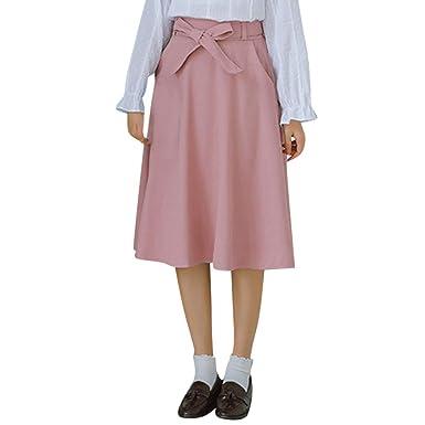 Conquro-falda de Color Liso para Mujer Pajaritas Falda de Media ...