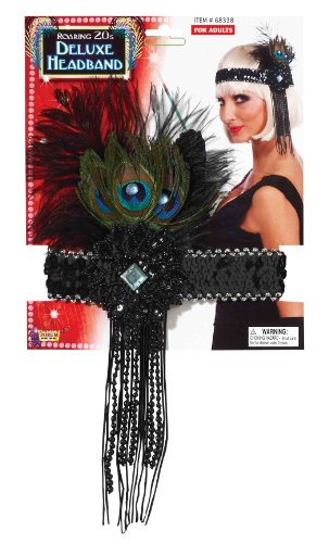Halloween Costumes Size 20 (Forum Novelties Roaring 20's Sequin Flapper Headband with Feather, Black, One Size)