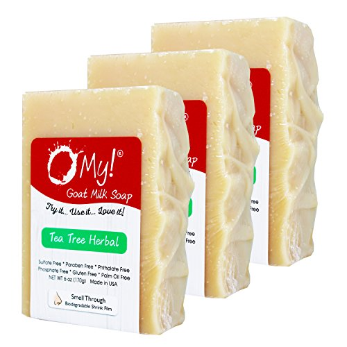 Cheap Bundle of 3 O My! Tea Tree Herbal Goat Milk Soap – All Natural, Palm Oil Free, Handmade Soap Made in USA