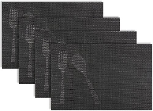 Placemat Set of 4/6 Cutlery Kitchen Table Decor Woven Vinyl Table Placemats Set Home Dinner Decorative Reversible by Secret Life(4, Gun Metal Cutlery) Gold 1 Mm Machine