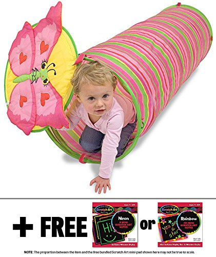 Bella Butterfly Crawl Tunnel  Sunny Patch Outdoor Play Series   Free Melissa   Doug Scratch Art Mini Pad Bundle
