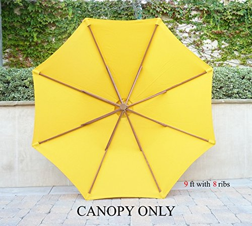 9ft Umbrella Replacement Canopy 8 Ribs In Yellow Olefin Canopy