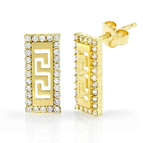 14k Yellow Gold Womens CZ Greek Key Rectangle Cubic Zirconia Studs Earrings