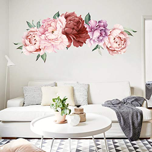 (Peony Flowers Wall Sticker,Quaanti Floral Peonies Wall Decal Peel and Stick Removable DIY Wall Art Pink Rose Flower Mural Nursery Decals Kids Room Home Decor Gift,Wedding Praty Decoration (Multicolor))