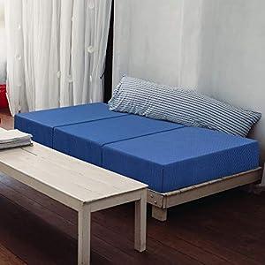 "Olee Sleep Tri-Folding Memory Foam Topper, 4"" H, Blue"