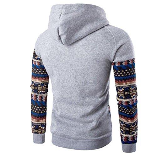 capucha capucha hombres los Outwear retro ZARU larga de Tops de Chaqueta con manga Gris Coat con Sudadera zwS6t7q