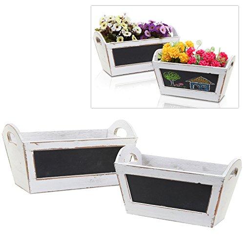 MyGift 2 pc White Vintage Wood Nesting Shelf Baskets/Shabby Chic Organizer Storage Crates w/Chalk Board -