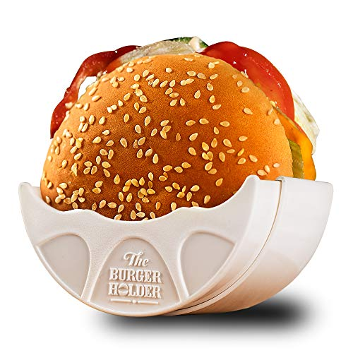 Burger Holder - Adjustable Original Solid Reusable Shell for Home Use or Restaurant - Machine Dish Washer Safe and BPA Free