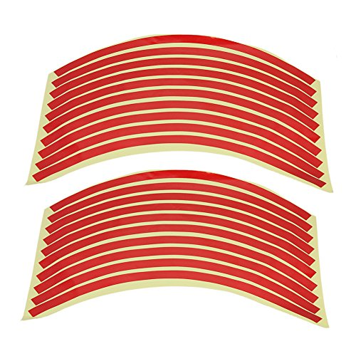 20x Stickers Autocollant PVC Liseret Jante Pneu Roue Rouge 10mm Pr Voiture Moto on sale