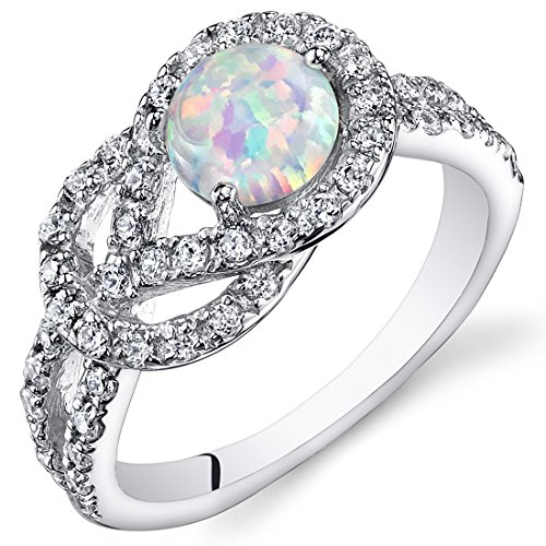 Created Opal Ring Sterling Silver with CZ Accent 0.75 Carats Size 8