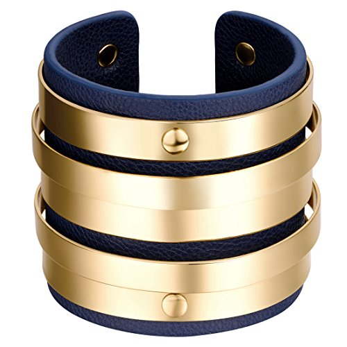 Shally Women's Gold Tone Luggage Vegan Leather Cuff Bracelet Unique Hoop Open Ended Wide (Chunky Bracelets)