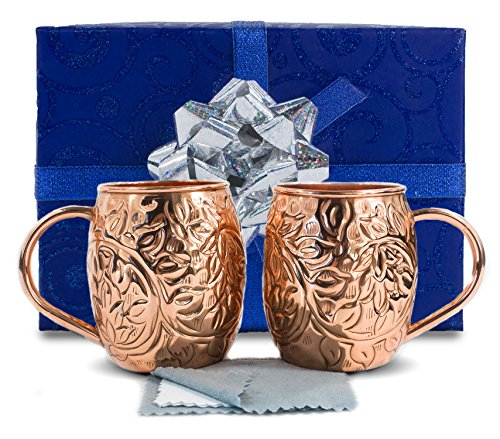 Hammered Martini Glass (MOSCOW MULE 100% PURE SOLID COPPER CUP SET - Original & Authentic Hammered Design – Available In Sets of 2 or 4 - 16 Ounce 473 ml. Includes Free Copper Polishing Cloth (2 Mugs))