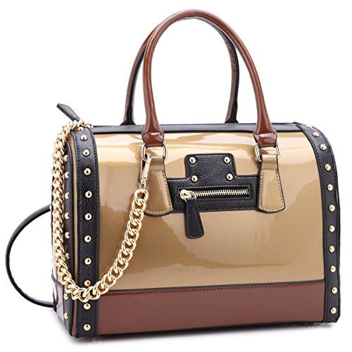 (Dasein Shiny Patent Faux Leather Mini Barrel Body Satchel Handbag Shoulder Bag)