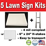 Box of 5 Quantity Blank Yard Signs 18x24 with H-stakes for Garage Sale Signs, For Rent, Open House, Estate Sale, Now Hiring, or Political Lawn Sign