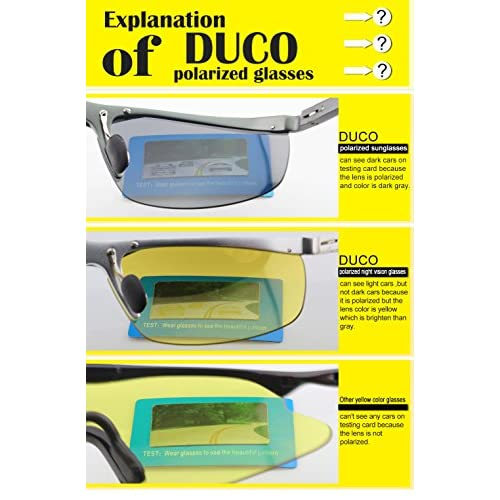 501839afa7e7 best Duco Night Vision Glasses Polarized Wrap Around Prescription Eyewear  8953Y