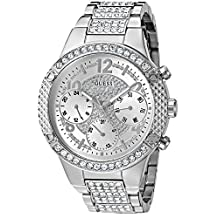 GUESS Women's U0850L1 Sporty Silver-Tone Watch with Silver Dial , Crystal-Accented Bezel and Stainless Steel Pilot Buckle