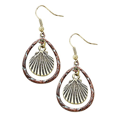 Rosemarie Collections Women's Beach Theme Seashell Hoop Earrings (Burnished - Collection Seashells Of