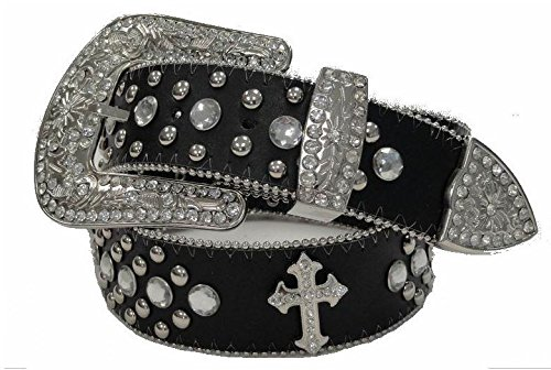 Deal Fashionista BLACK CROSS Concho Western Rhinestone Bling Studded Removable Buckle ()