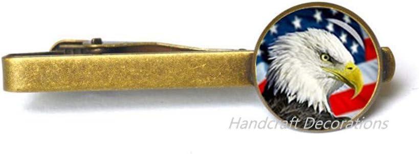 HandcraftDecorations American Bald Eagle Tie Pin Tie Clip,American Flag Tie Pin,Charm Tie Clip Patriot Tie Pin.F214