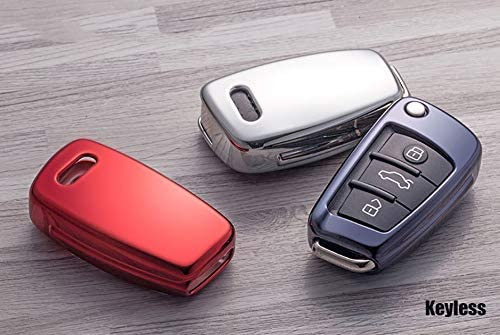 ontto Key Shell Folding Flip Key Fob Case Cover with Braided Cord Keychain 360 Degree Full Protection TPU Key Holder Fit for Audi A3 A4 A6 A6L A8 TT Q7 S6 Silver