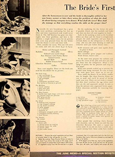 1938 Article Bride's First Dinner Menu Recipes Instructions Food Lamb Chops YWD3 - Original Print Article