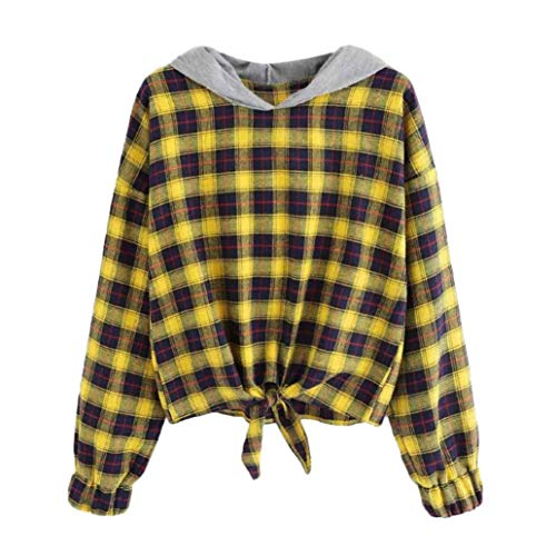 URIBAKE Women Long Sleeve Plaid Casual Hooded Sweatshirt Pullover Top Blouse (Rugby Striped Hooded)