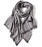 WS Natural Women Cotton Scarf Shawl Wrap Tassel Sunscreen Super Soft Lightweight Scarves Stripes (Light grey)