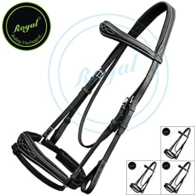 Royal Fancy Anatomic Bridle & PP Rubber Grip Reins./ Vegetable Tanned Leather./ Stainless Steel Buckles./ Economic Pack of 4 bridles.