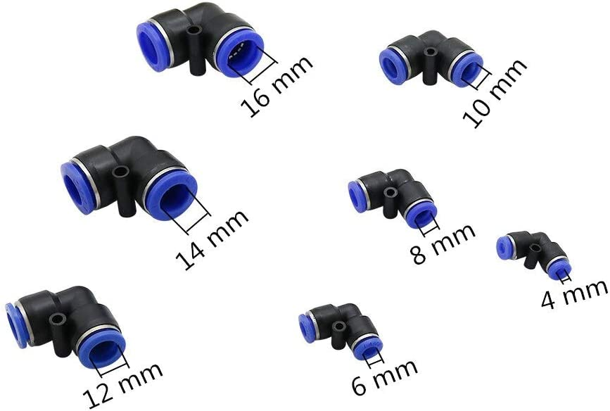 Irrigation System Parts 40 Pcs PVC Equal Elbow Push In Quick Connect Connectors Water Pipe Slip lock quick Coupling Pneumatic Fittings PU pipe connector (Color : 6 mm) 16 Mm