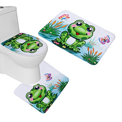 Amagical 3 Piece Cute Frog Flannel Bathroom Mat Set (Bathroom Mat + Toilet Contour Rug + Toilet Cover)