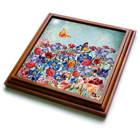 3dRose trv_266967_1 Colorful Spring Flowers and Butterflies Floral Watercolor Illustration Trivet with Tile, 8 by 8'' by 3dRose