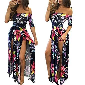 lexiart Romper Split Maxi Dress High Elasticity Floral Print Short Jumpsuit Overlay Skirt for Summmer Party Beach S-5X ?- ¡ (Dark Blue, 3XL)
