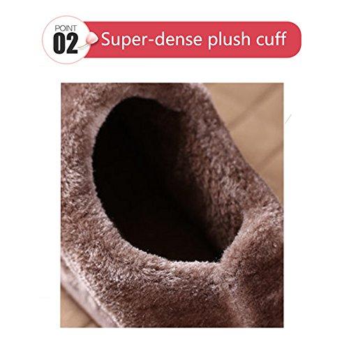 JACKSHIBO Herren Damen Plüsch Baumwolle Pantoffeln Erwachsene Home Warme Hausschuhe Winter Rutschfeste Slippers Braun