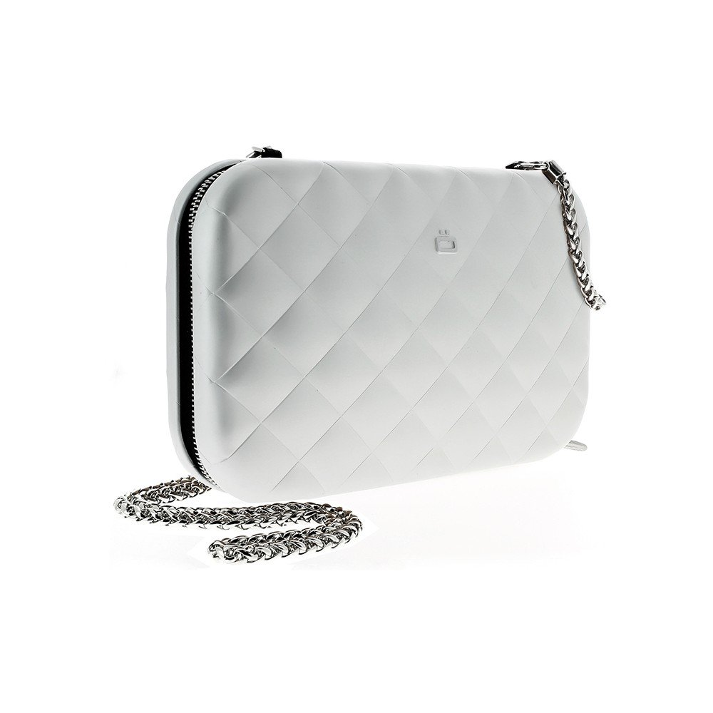 Ogon Quilted Lady Bag Aluminum RFID Blocking Clutch - Silver