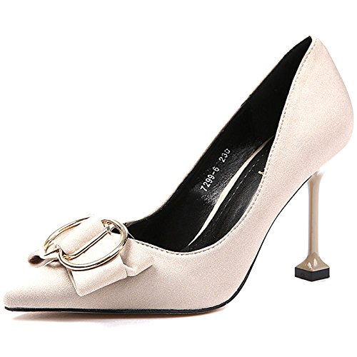 Shallow Heeled Wedding MDRW Shoes Mouth 37 Tip A Leisure Shoes Elegant Match All Shoes With Spring 8Cm Bride Khaki Work Bow High Lady Shoes Fine Shoes rw8rB
