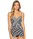 Miraclesuit Tiki Love Knot Tankini Top, 10, Black/White