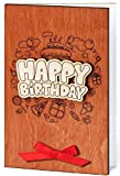 Happy Birthday Real Wood Handmade Card for Men or Women Him or Her Inside Bouquet of Red Roses Unique Original Anniversary Gif Idea