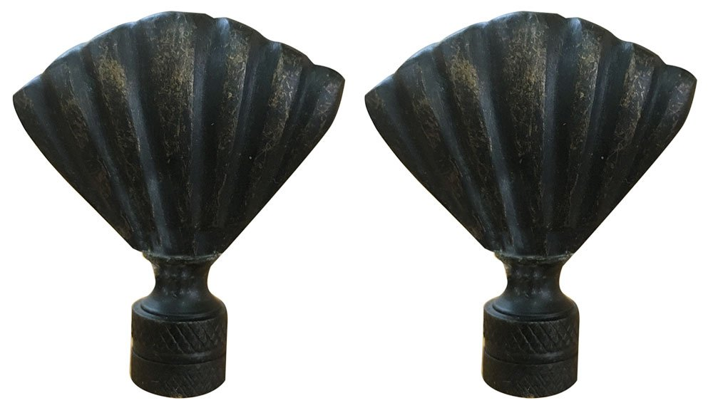 Royal Designs Seashell Lamp Finial for Lamp Shade- Antique Brass Set of 2