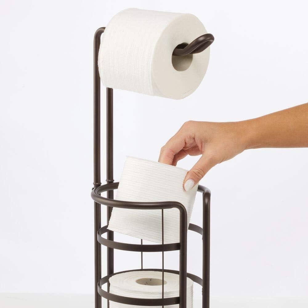 moderner Papierrollenhalter f/ür Badezimmer /& G/äste-WC mDesign Toilettenpapierhalter freistehend bronzefarben stilvoller Klopapierhalter aus Metall