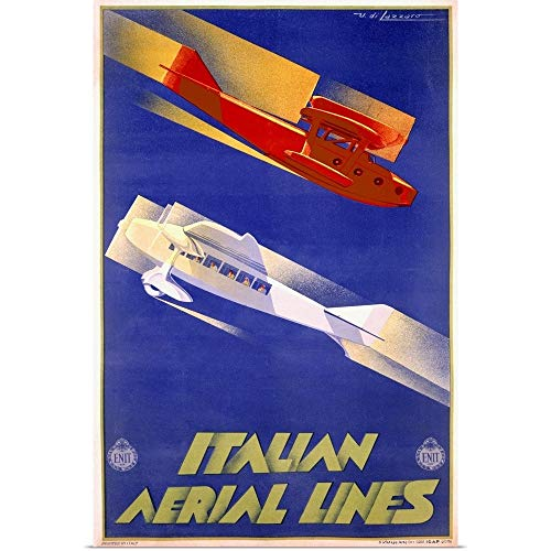 GREATBIGCANVAS Poster Print Entitled Italian Aerial Lines, Vintage Poster, by Umberto di Lazzaro by 16